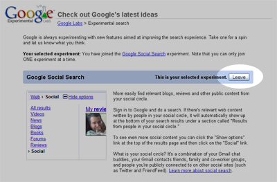 Google Labs - Social Search