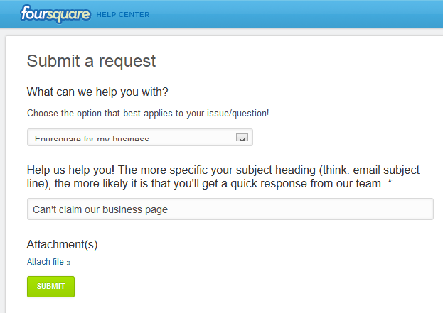 заявка за бизнес страница във Foursquare