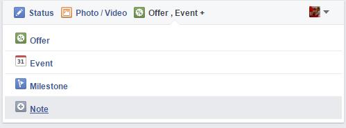 Публикуване на NOTE (Бележка) във фейсбук страница